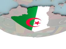 Algeria with flag on globe. 3D illustration of Algeria with embedded flag on political globe. 3D render Stock Photography