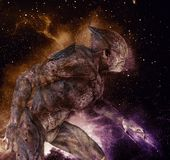 Alien monster on space background 3d illustration. 3D illustration alien monster on space background Royalty Free Stock Photography