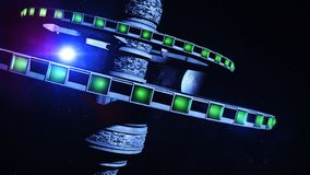 3d illustration of an alien space station orbiting a distant star system. With alien planets stock illustration
