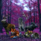 Fantasy Colorful Surreal Forest With Animals vector illustration