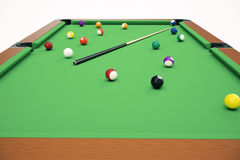 3D illustration American pool snooker balls background. American Billiard. Bar game, Billiard table game. Stock Photo