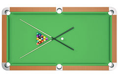 3D illustration American pool snooker balls background. American Billiard. Bar game, Billiard table game, top view Royalty Free Stock Photo