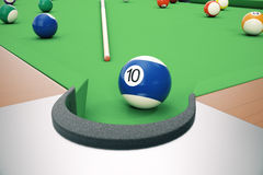 3D illustration American pool snooker balls background. American Billiard. Close up Billiard balls. Bar game. Billiard. 3D illustration American pool snooker Stock Photos