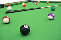 3D illustration American pool snooker balls background. American Billiard. Close up Billiard balls. Bar game. Billiard Stock Photography