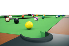 3D illustration American pool snooker balls background. American Billiard. Close up Billiard balls. Bar game. Billiard Royalty Free Stock Images