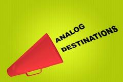 ANALOG DESTINATIONS concept. 3D illustration of ANALOG DESTINATIONS title flowing from a loudspeaker royalty free illustration