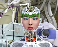 3D Illustration of an Android Being Updated. By an automated robotic  arm Stock Images