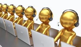 3D Illustration, Angestellte, die in einem Call-Center arbeiten stock abbildung