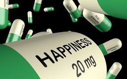 3d illustration antidepressant with word happiness pill close up stock images