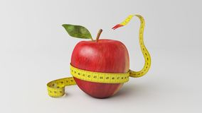 3d illustration apple tape snake. A 3d illustration healthy apple with a measure tape. good balance between food and healthy lifestyle Royalty Free Stock Photography