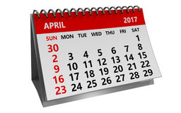 3d april 2017 calendar. 3d illustration of 2017 april calendar isolated over white background Royalty Free Stock Photo