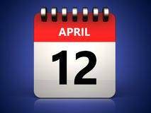 3d 12 april calendar. 3d illustration of 12 april calendar over blue background Stock Photography
