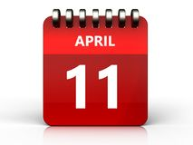 3d 11 april calendar. 3d illustration of april 11 calendar over white background Royalty Free Stock Photography