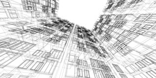 3D illustration architecture building perspective lines royalty free stock photography