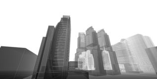 3D illustration architecture building perspective lines stock photo