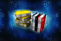 3d illustration of archive folders stack. Business files and folders isolated in digital background. 3d rendering Stock Photography