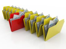 3d illustration of archive folders stack. Business files and folders isolated in digital background. 3d rendering Stock Images