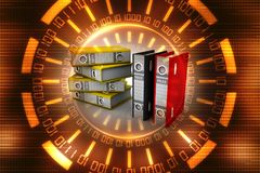 3d illustration of archive folders stack. Data sharing concept Stock Photo