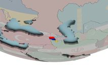 Armenia with flag on globe. 3D illustration of Armenia with embedded flag on political globe. 3D render Royalty Free Stock Photography