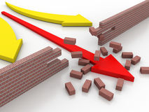 3d illustration of arrow breaking break wall, power solution concept Royalty Free Stock Photos