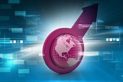 Arrow holding a globe. 3d illustration of Arrow holding a globe in color background Stock Image