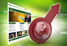 Arrow holding a globe. 3d illustration of Arrow holding a globe in color background Royalty Free Stock Photography