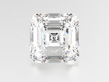 3D illustration asscher diamond stone. On a grey background Royalty Free Stock Photos