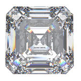 3D illustration asscher diamond stone. On a white background Stock Photo