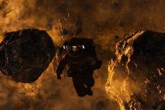 Astronaut in Asteroid Field stock illustration