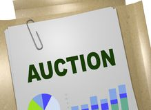 AUCTION - commercial concept. 3D illustration of AUCTION title on business document Royalty Free Stock Image