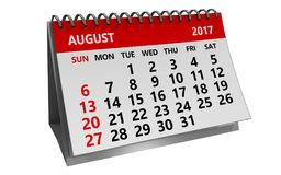 3d august 2017 calendar. 3d illustration of august 2017 calendar isolated over white background Royalty Free Stock Image