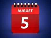 3d 5 august calendar. 3d illustration of august 5 calendar over blue background Stock Photos