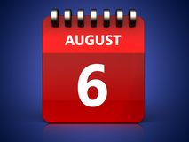 3d 6 august calendar Royalty Free Stock Images