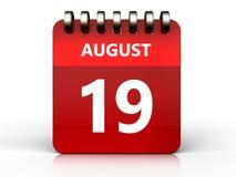 3d 19 august calendar. 3d illustration of august 19 calendar over white background Stock Image