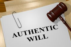 AUTHENTIC WILL concept. 3D illustration of AUTHENTIC WILL title on legal document Stock Photo
