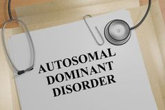 Autosomal Dominant Disorder concept. 3D illustration of AUTOSOMAL DOMINANT DISORDER title on a medical document Royalty Free Stock Images