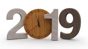 3D illustration av 2019, datum med den trämekaniska klockan Idé för kalender, ferier för nytt år, beröm och glädje 3d stock illustrationer