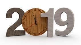 3D illustration av 2019, datum med den trämekaniska klockan Idé för kalender, ferier för nytt år, beröm och glädje 3d royaltyfri illustrationer