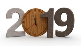 3D illustration av 2019, datum med den trämekaniska klockan Idé för kalender, ferier för nytt år, beröm och glädje 3d vektor illustrationer
