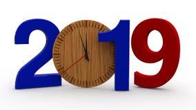 3D illustration av 2019, datum med den trämekaniska klockan Idé för kalender, ferier för nytt år, beröm och glädje renderin 3D vektor illustrationer