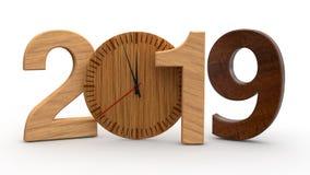 3D illustration av 2019, datum med den trämekaniska klockan Idé för kalender, ferier för nytt år, beröm och glädje renderin 3D royaltyfri illustrationer