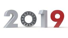 3D illustration av 2019, datumet av det nya året med det rullande lagret Idén av mekanismen av tidmaskinen, vektor illustrationer