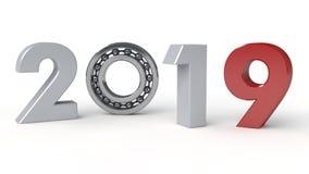 3D illustration av 2019, datumet av det nya året med det rullande lagret Idén av mekanismen av tidmaskinen, royaltyfri illustrationer