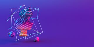 3d-illustration av en abstrakt sammansättning av skulptur och primitiva objekt på violett bakgrund stock illustrationer
