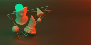 3d-illustration av en abstrakt sammans?ttning av skulptur och primitiva objekt vektor illustrationer