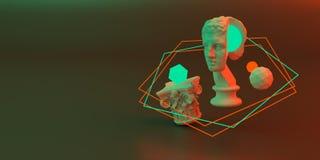 3d-illustration av en abstrakt sammans?ttning av skulptur och primitiva objekt stock illustrationer