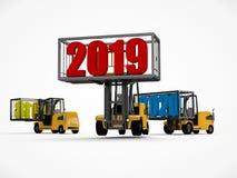 D-illustration av en gaffeltruck som rymmer datumet 2019 och tar bort 2018 och 2020 Trans.tid Idé för kalendern, 3D vektor illustrationer
