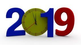 3D illustration av 2019, ett datum med en mekanisk klocka Idén av tid, forntiden och framtid, för kalendern, ferier för nytt år, stock illustrationer