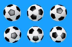 D-illustration av fotbollbollen som isoleras på blå bakgrund som skapas utan referensbilder arkivbilder