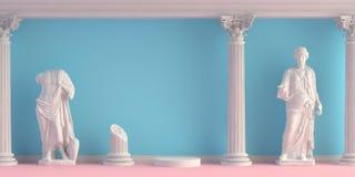 3d-illustration av inre med antika statyer och kolonner vektor illustrationer